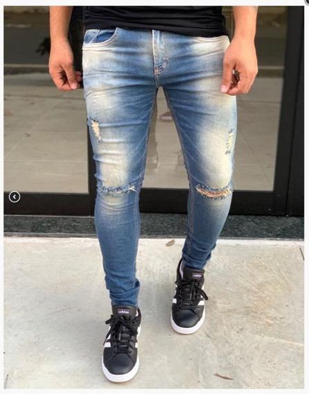 Calça Jeans Masculina Premium Rasgada Lavada Destroyed
