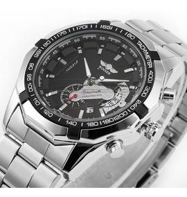 Relógio Winner Automático Aço Data Cronógrafo + Brinde