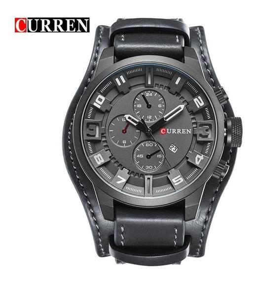 Relógio Masculino Analógico Curren Bracelete De Couro Preto