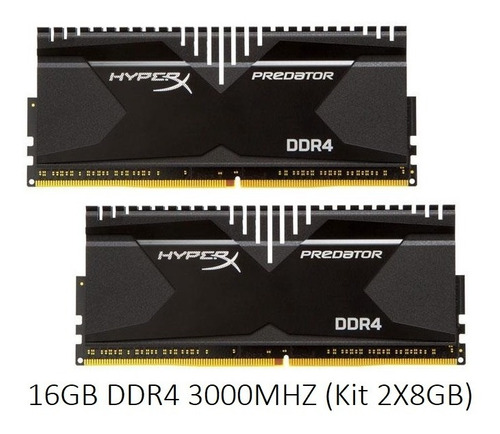 Memoria 16gb Ddr4 3000mhz 2x8 Kingston Hyperx Predator Usada