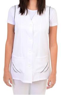 Bata Feminina Branca Com Marinho Enfermeira Ou Babá Bu264