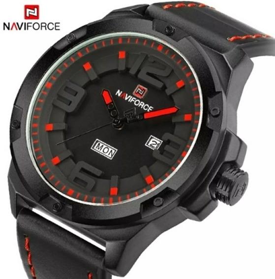 Relógio Masculino Esportivo Naviforce Pulseira De Couro + Cx