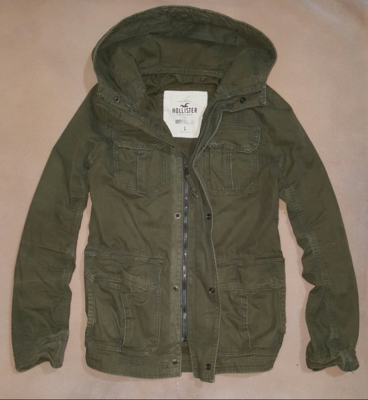 Jacket Hollister, Color Verde Militar, Talla L