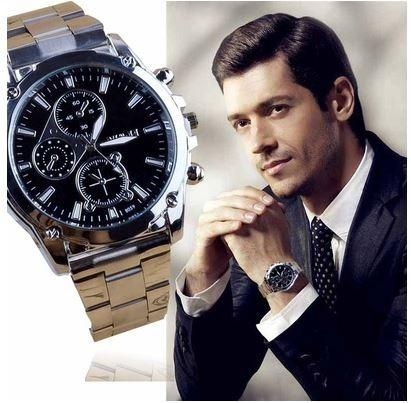 Relógio Quartzo Preto Aço Inoxidável