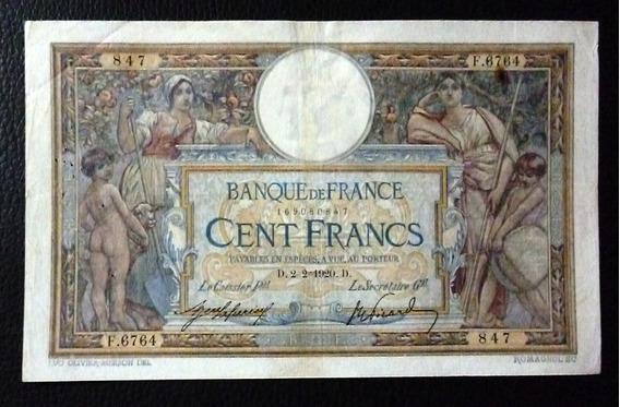 Francia Billete 100 Francos Vf- (agujeros) Año 1920 Pick 71a