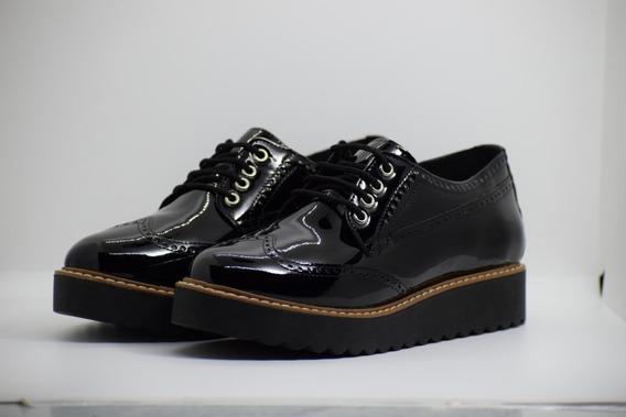 Zapatos Chatos Mujer Charol Negro Con Plataforma 36 Al 40
