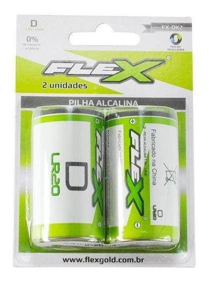 Pilha Alcalina D Grande - Fx-dk2 - Cartela C/ 2 - Flex