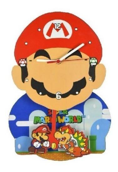 Relógio De Parede Mdf Com Pêndulo Super Mario Bros Nintendo