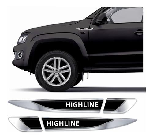 Adesivo Aplique Lateral Emblema Amarok Highline Resinado R60