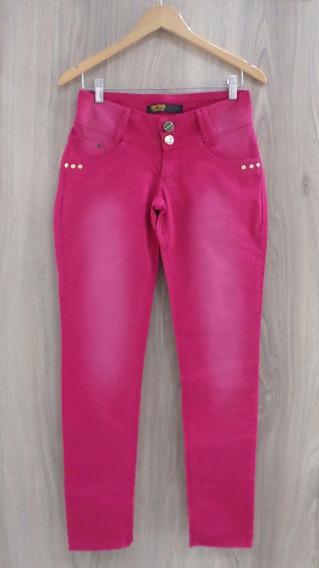 Calça Jeans Área Restrita - Cos Largo - Rosa Pink Estonado