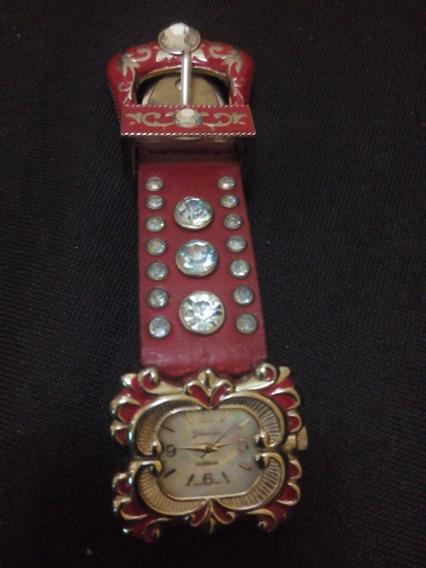 Relógio Com Pulseira Vermelha Zircônias Geneva Puls Couro