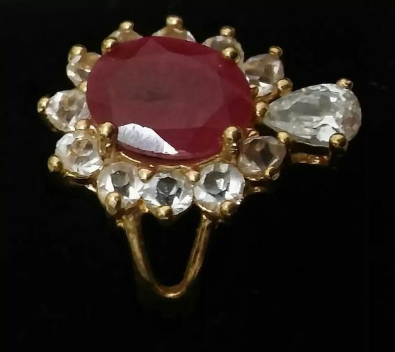 Anel Folheado A Ouro 18k Pedra Natural Rosa Rubelita Aro 20