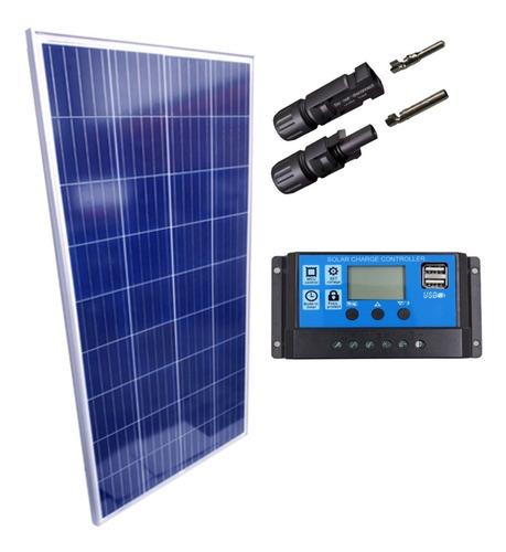 Imagem 1 de 1 de Kit Placa Solar 150w Controlador 10a Lcd
