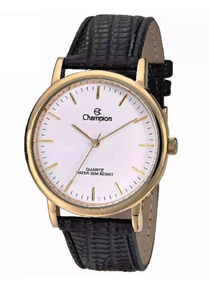 Relógio Champion Dourado Pulseira Couro Preto Cn20042b