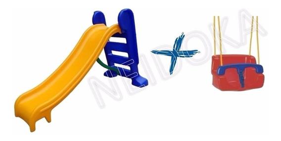 Escorregador Infantil 3 Degraus + Balanço Infantil / Bebê