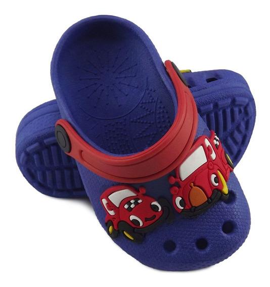 Babuche Infantil Menino Azul Carros Modelo Novo Para Criança
