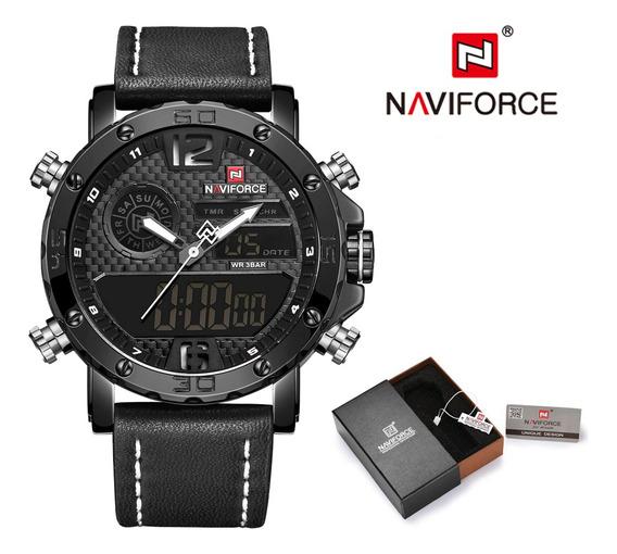 Relógio Masculino Militar Esportivo Naviforce De Quartzo