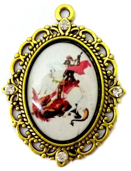 Medalha Pingente De São Jorge Dourado Com Strass