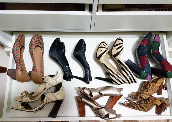 Lote Com 14 Pares De Sapatos Femininos De Marca (seminovos)