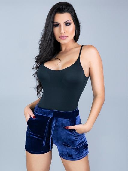 Kit 2 Short Feminino Veludo Molhado Cintura Alta Atacado