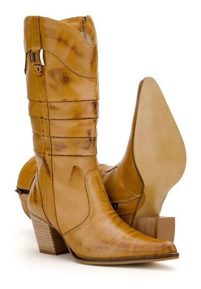 Bota Feminina Country Texana 100%couro Bico Fino 6 Modelos