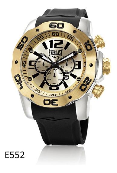 Relógio Pulso Everlast Masculino Cronografo Aço Preto E552