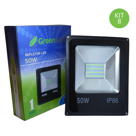 Refletor Led Smd 50w Verde Ip66 Bivolt Kit 8