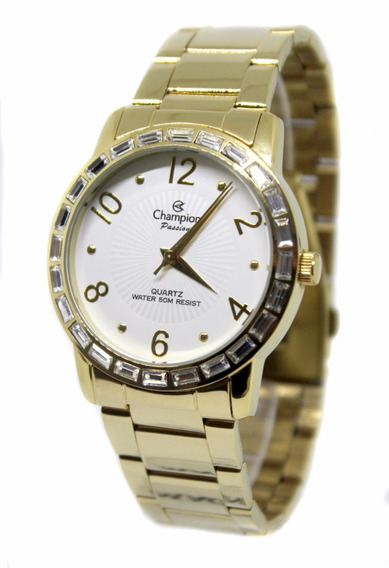 Relógio Feminino Champion Dourado Ch24437h Fretegratis