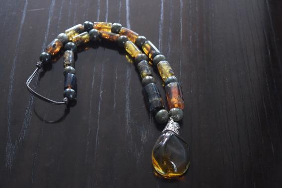 Collar De Piedra Natural De Chiapas Y Jade Con Dije