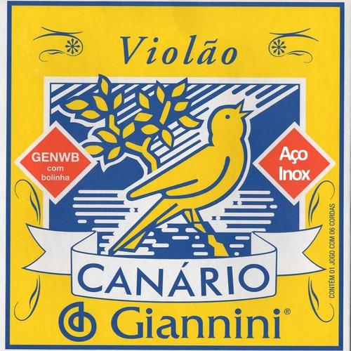 Imagem 1 de 1 de Encordoamento Canário Giannini 6 Cordas Aço Para Violão
