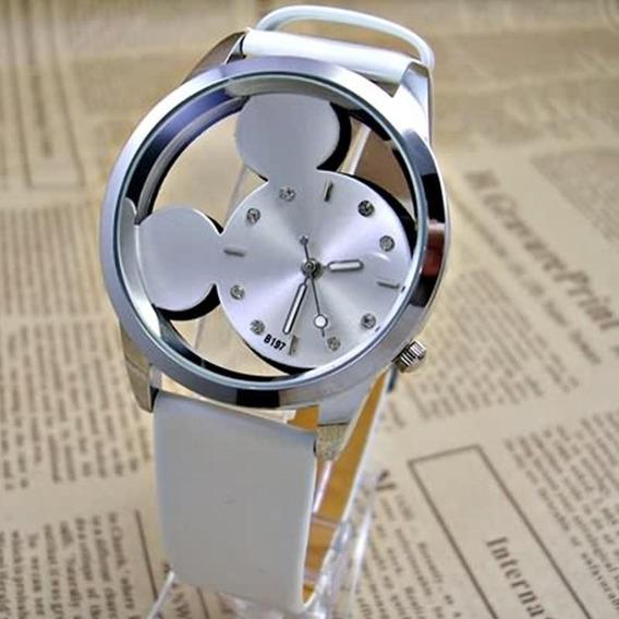 Relógio Feminino Branco E Pulseira Couro Mickey Transparente