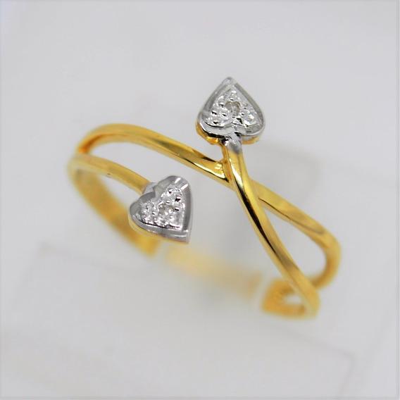 Anel Ouro 18k 750 Folhas Diamantes 2,0g Frete Grátis