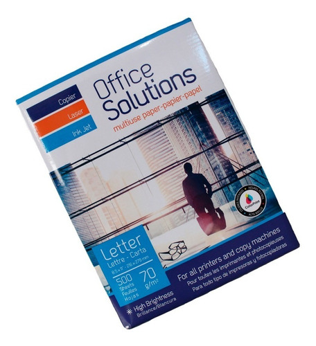 Paquete Papel Bond Carta Office Solutions 500 Hojas 1 Resma