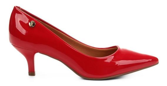Sapato Feminino Scarpin Vizzano Verniz Salto Baixo Fino Vermelho