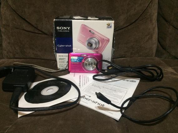 Câmera Digital Sony Dsc-w310 Rosa - Com Todos Acessórios