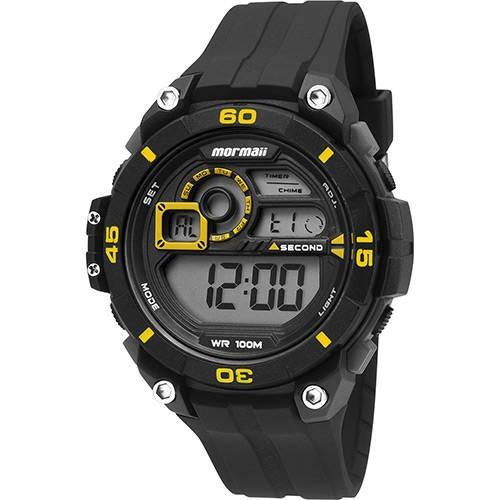 Relógio Mormaii Masculino Preto Com Amarelo Mo2019/8y