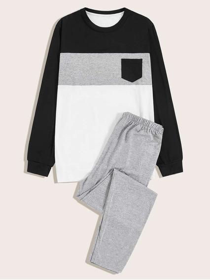 Conjunto De Pijama De Hombres Con Bolsillo Con Costura