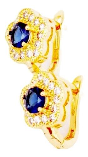 Imagen 1 de 3 de Aretes De Oro De 18kt Con Zirconia Azul Envio Gratis!