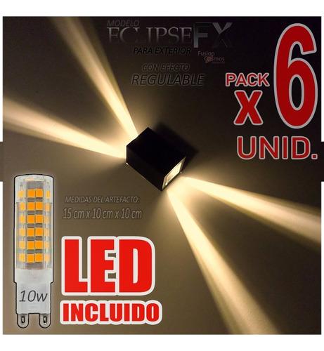Imagen 1 de 10 de Aplique Difusor Exterior Efecto Fx Led Incluido 10w Pack X6