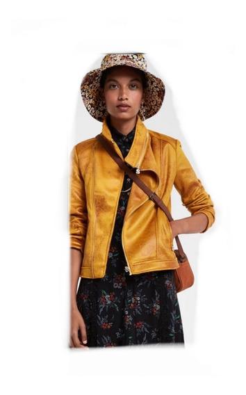 Chamarra Desigual Mostaza Amarilla Mujer