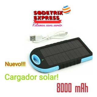 Cargador Solar Portátil 8000 Mah Linterna Led 2 Cables Usb!