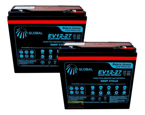 Kit Bateria Gel 2un 27ah 12v Bike Elétrica 6-dzm-20 Global