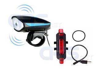 Kit Bike Lanterna Buzina + Sinalizador Traseiro Led Usb