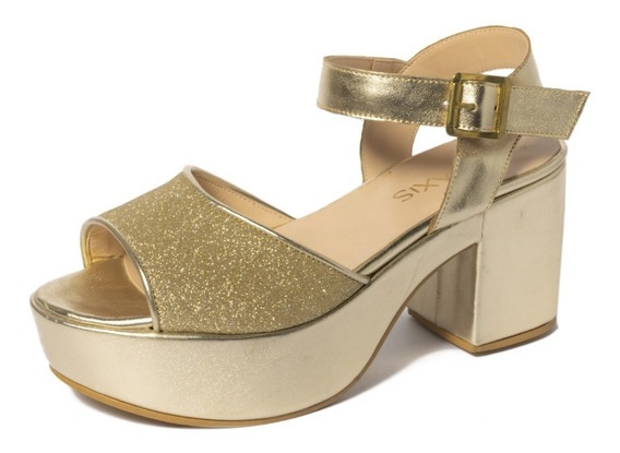 Sandalia Con Plataforma Y Glitter Húngara Calzados