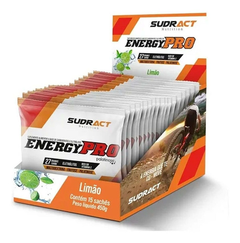 Imagem 1 de 2 de Energy Pro Cx C/ 15 Sachês De 30g Limão Sudract Nutrition