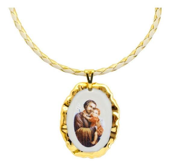Corrente E Pingente Fé Medalha De São José Ouro Religioso