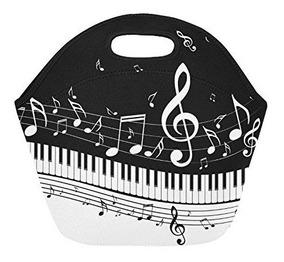 Lonchera En Neopreno Con Diseño De Piano Y Notas Musicales