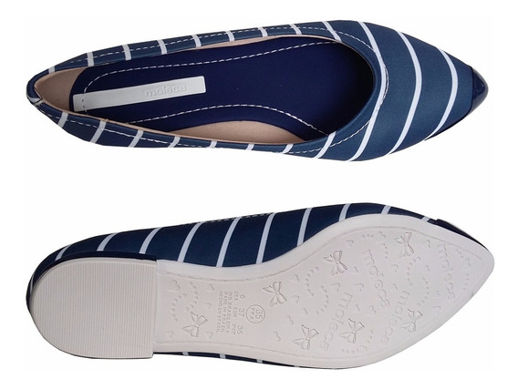 Sapato Sapatilha Bico Fino Listras Marinheiro Passeio Moleca