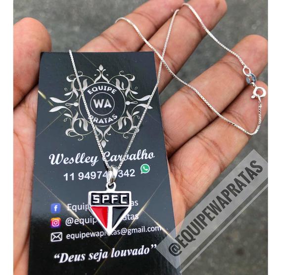 Colar Prata Legítima 925 C/ Pingente Do São Paulo Prata Pura