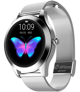 Smartwatch Mujer Metal Reloj Kingwear Android Kw10 Cardiaco Tactil Sumergible Android iPhone Podometro